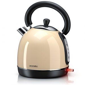 Arendo – 3000 Watt Retro Edelstahl Wasserkocher / Teekessel | 3000 Watt Leistungsaufnahme (Schnellkoch-Wasserkocher) | Füllmenge max. 1,8 Liter | automatische Abschaltung | in Creme