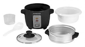 GOURMETmaxx 00608 Reiskocher mit Dampfgaraufsatz 400 ml, 200 W, schwarz / weiß
