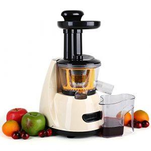 Klarstein Fruitpresso • Entsafter • vertikale Saftpresse • Edelstahl-Mikrosieb • Slow Juicer • 150 Watt • 70 U/min. • Schneckenpresswerk • Vor-und Rücklauf • 2 Auffangbehälter • geräuscharm • Start-Stopp-Schutz • zerlegbares Presswerk • creme