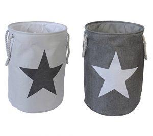 """2er Set Wäschesäcke Wäschekörbe """"Star"""" Sterne im Vintage Look Grau & Weiß"""