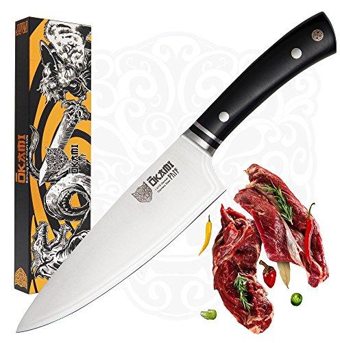 Okami Knives Professionelles Kochmesser 20cm, Scharfes Präzisions-Küchenmesser, Allzweckmesser, Chefmesser für Fisch, Fleisch, Gemüse aus hochwertigem deutschen Edelstahl mit ergonomischem Griff