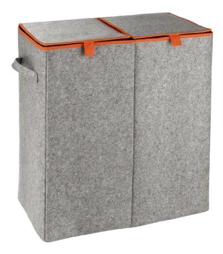 WENKO 3440402100 Wäschesammler Duo Filz Orange - Wäschekorb, 2 Kammern, Fassungsvermögen 82 L, Filz, 52 x 54 x 28 cm, Grau