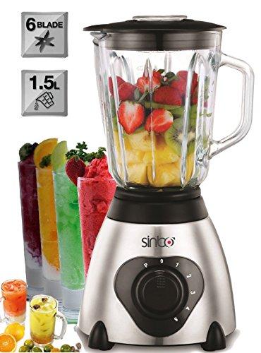 2in1 Glas Edelstahl Standmixer | 600 Watt | 1,5 Liter | inkl. Kaffeemühle | Smoothie Maker | Universal Mixer | 6 Fach Metallmesser | Ice Crusher | 6 Geschwindigkeitsstufen