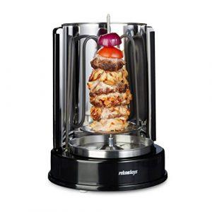 Relaxdays Dönergrill Rotisserie 1400 Watt, Vertikalgrill, Hähnchengrill, 360° Hitzeverteilung, für Döner und Kebab, schwarz