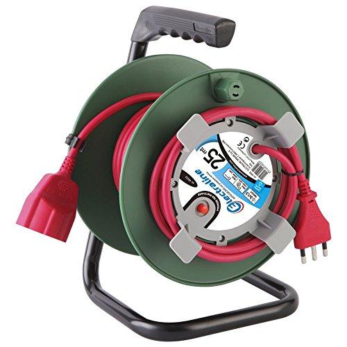 Electraline 49232Kabeltrommel mit Stecker Universal passend für Geräte von Gartenarbeit, Thermoschutz, 25mt., Kabelquerschnitt 3G1,5mm²