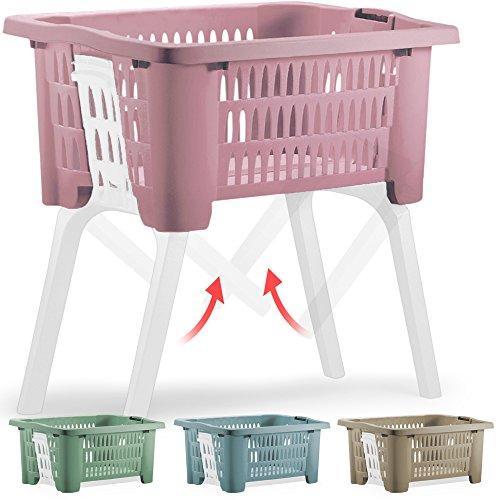 Wäschekorb mit ein- und ausklappbaren Beinen aus Kunststoff Wäschesammler Tragegriffe arbeitserleichternd Rosa