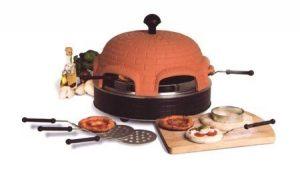 Pizzaofen für 6 Personen – Pizzadom, Raclette Grill, Pizza-Backofen mit Terracotta-Deckel