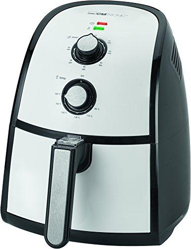 Clatronic FR 3667 H Heißluft-Fritteuse 2,2 L Fassungsvermögen, stufenlos regelbarer Thermostat, Timer, 1500 W, schwarz / weiß