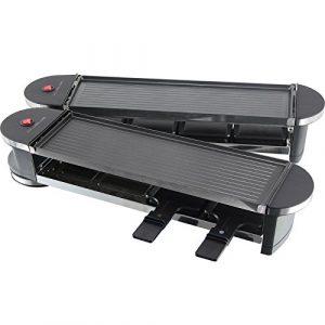 schwenkbarer Raclette Grill | Partygrill | elektro Tischgrill | klappbare Doppel-Grillplatte | gesundes grillen von Gemüse uvm. – (Typ 8: 8 Pers. Klapp-Grill + Pfännchen + Spatel – 1,2KW)
