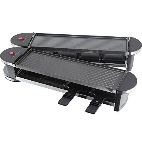 schwenkbarer Raclette Grill | Partygrill | elektro Tischgrill | klappbare Doppel-Grillplatte | gesundes grillen von Gemüse uvm. - (Typ 8: 8 Pers. Klapp-Grill + Pfännchen + Spatel - 1,2KW)