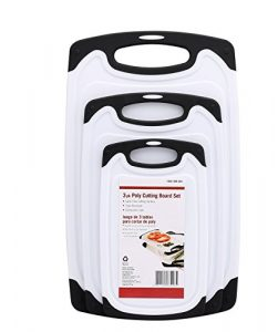 Rutschsicheres Schneidebrett,Vicloon 3-teiliges Spülmaschinenfestes Plastik Schneidebrett Set mit Tropfensaft-Nut,Getrennter Gebrauch für Fisch / Gemüse / Geflügel / Fleisch
