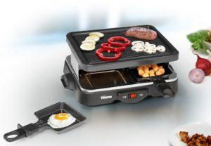 Raclette-Grill mit 4 antihaftbeschichteten Pfännchen Tischgrill Elektrogrill Steingrill für 4 Personen Grillplatte (sparsame 500 Watt + antihaftbeschichtete Grillfläche ca. 22 x 17,5 cm)