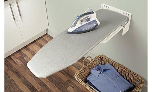 Bügelbrett Klappbar Ironfix Premium Bügeltisch-Bezug mit grauen Streifen | Klapptisch 180° drehbar | Stahl RAL 9016 | Wand-Bügelbrett für Wandmontage | Möbelbeschläge von GedoTec®