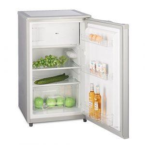 Kühlschrank mit Gefrierfach A++ (90 Liter) Silber – 4-Sterne-Gefrierfach (-18 °C) Gefrierschrank ✓ Abtauautomatik ✓ Glasablagen ✓ Gemüsefach ✓ Türablagen ✓ Innenbeleuchtung ✓