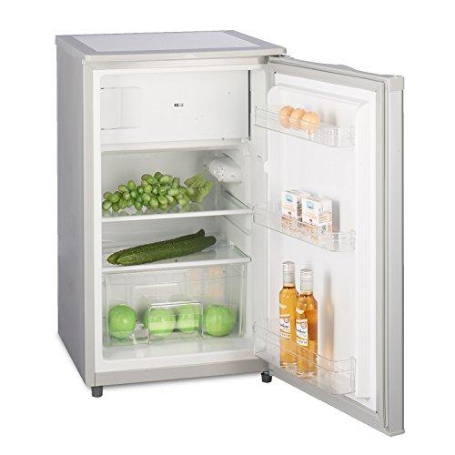 Kühlschrank mit Gefrierfach A++ (90 Liter) Silber - 4-Sterne-Gefrierfach (-18 °C) Gefrierschrank ✓ Abtauautomatik ✓ Glasablagen ✓ Gemüsefach ✓ Türablagen ✓ Innenbeleuchtung ✓