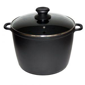 Schmortopf Kochtopf 10L, Aluguss, Antihaftbeschichtung, D:28 cm, H:20 cm, schwarz