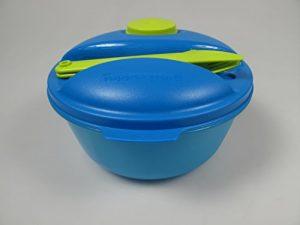 TUPPERWARE To Go Salat&Go 1,5L blau limette A157 Salat & Go mit Besteck Picknick 7030