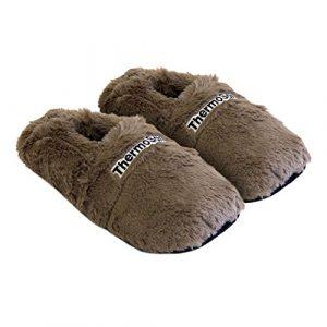 Thermo Sox aufheizbare Hausschuhe Körnerpantoffeln Wärmeschuhe Mikrowellenschuhe Supersoft, Präzise Farbe:Kakaobraun/Schokobraun, Schuhgröße:36-40