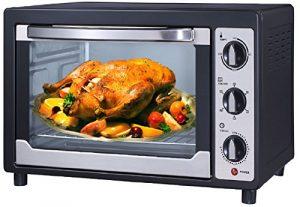 Mini Backofen | 45 Liter | elektrischer Drehspieß | Temperaturregelung 100-250°C | zuschaltbare Umluft | Innenbeleuchtung | Pizzaofen | Minibackofen | 90 min.Timer | 2000 Watt |