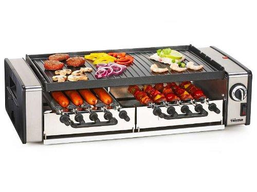 Multifunktions-Grill Tischgrill Tisch-Barbeque Elektro-Grill für 10 Personen (leistungsstarke 1600 Watt, Grillplatte, Grillrost, antihaftbeschichtet, 10 Fleischspieße, abnehmbare Abtropfschale)