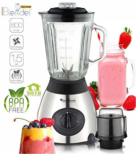 800 Watt Edelstahl Standmixer mit Glas-Behälter 1,5 Liter und Kaffeemühle, BPA-Free, Smoothie Maker Silber