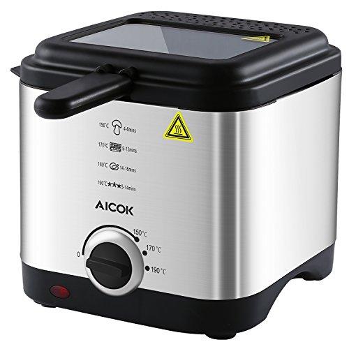 Aicok - Mini Fritteuse | Temperaturkontrolle und Abnehmbarer Deckel | Sichtfenster | Easy Clean | Edelstahl-Korb, 1,5 Liter groß, 900W
