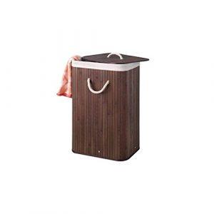 Perel HP100204 Bambus Wäschekorb, Rechteckig, 40 cm Breite x 30 cm Länge x 60 cm Höhe, Braun