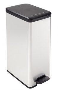 Curver Deco Abfalleimer Slim 40 L, Plastik, schwarz / silber metallic, 42 x 25 x 61 cm