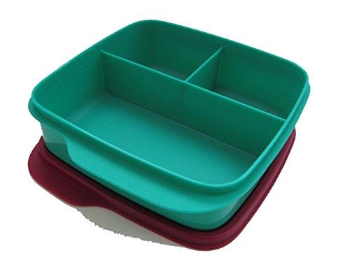 Tupperware Lunchbox Behälter mit Trennwand 550 ml Brotbox Kindi Schule Clevere Pause grün/weinrot