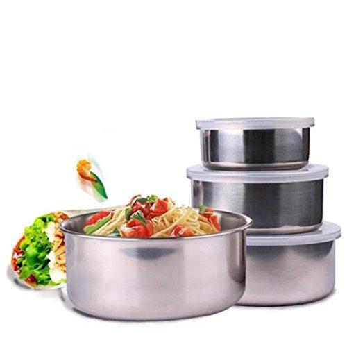 Küchenschüssel, Jaminy 5 Stk. Edelstahl Haus Küche Lebensmittel Container Lagerung Misch Schüssel Set Edelstahl - Salatschüssel Set Edelstahlschüssel Rührschüssel Ø 280m-1580ml