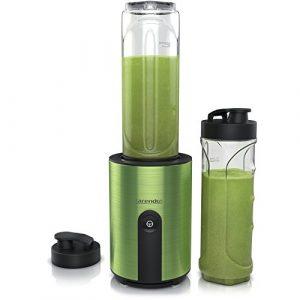 Arendo – Mix & Go Smoothiemaker / Standmixer | inkl. 2x ToGo-Becher BPA-frei | Edelstahlmesser 4-flügelig | Einfache 1-Tastenbedienung | automatische Sicherheitsabschaltung | spülmaschinengeeignet | Edelstahl grün-metallic