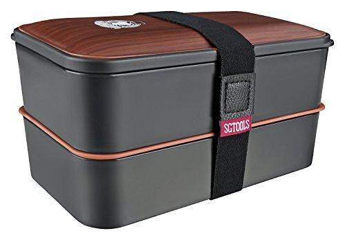 SMART GORILLA TOOLS - Bento Box - Dein Essen immer griffbereit - Lunchbox Brotdose Brotbüchse mit zwei Fächern - mikrowellengeeignet – inklusive Besteck und Trennelementen