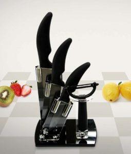 4er Keramikmesser (schwarze Klingen) Set (inkl. Sparschäler) mit Acryl Messerblock