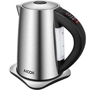 Aicok Wasserkocher Edelstahl mit Temperatureinstellung 40,60,70,80,90 und 100 Grad, elektrischer Wasserkessel mit Warmhaltefunktion, Kessel mit Automatischer Abschaltung, 2200 Watt, 1,7 Liter, Schwarz