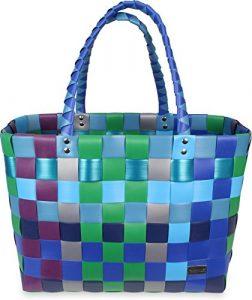 Einkaufskorb Shopper geflochten aus Kunststoff – robuster Strandkorb aus wasserabweisendem Material Farbe Classic / Sky