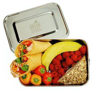 Green Steel: XXL Edelstahl Lunchbox (2400 ml | Silber) Umweltfreundliche Große Brotbox ToGo, Brotdose für Kinder & Erwachsene