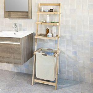 SoBuy® Leiterregal, Badezimmer-Regal mit abnehmbarem Wäschekorb und 3-Fächern zur Ablage, FRG160-N