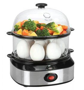 Elektrische Eierkocher, PYRUS Multifunktionale Elektrische Eierkocher mit Essen Gemüse Dampfer 7 Ei Kapazität, Gesundes Kochen, Köstlich, Ernährungs