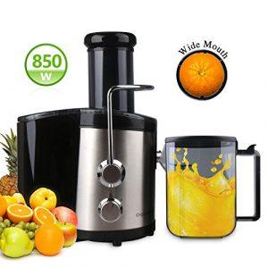 Aigostar MyFrappe Black 30IMX – Entsafter 850W Edelstahl Trennscheiben Juicer 2 Geschwindigkeiten Für Obst und Gemüse Mit Saftbehälter