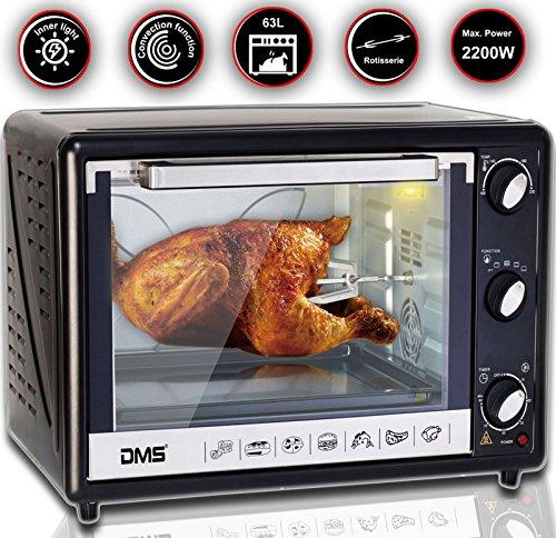 DMS® 63L Mini-Backofen mit Drehspieß Umluft Pizzaofen Ofen , Backofen mit Innenbeleuchtung, Timer 2200 Watt herausnehmbares Krümelblech OCR-63D