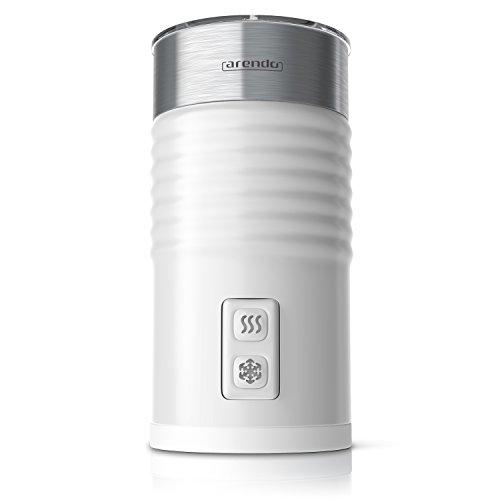 Arendo - Milchaufschäumer automatisch   milk frother   Neues Modell 2017 / STRIX Controller   2-Tasten für Warm- und Kaltaufschäumen   Überhitzungsschutz durch automatische Abschaltfunktion   365-435W   antihaftbeschichtet   360° Basisstation   weiß