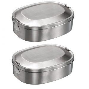 2x Mato Vesperbox 18,5×14,2cm Edelstahl Proviantdose Lunchbox Brotzeitdose Vesperdose Frühstücksbox Brotdose