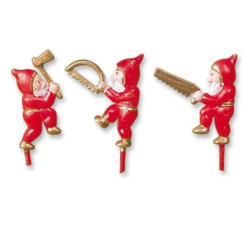 150 Weihnachtswichtel mit Säge und Axt | Einstecker aus Kunststoff