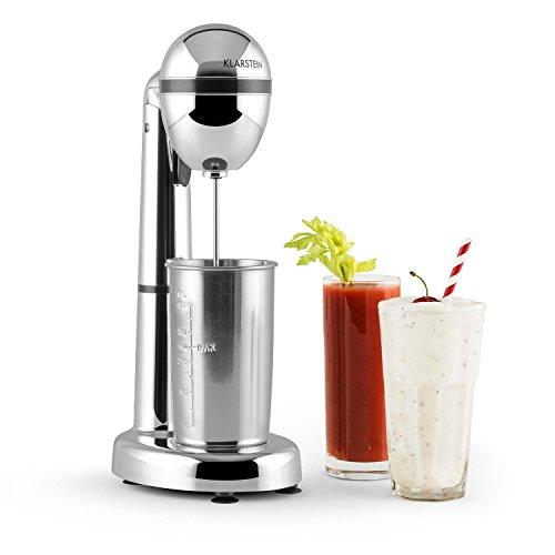 Klarstein van Damme • Drink-Mixer • Getränkemixer • Mini-Standmixer • Milkshake Maker • 100W • 22.000 Umdrehungen pro Minute • 450 ml Fassungsvermögen • Edelstahl-Mixbecher • Becherhalterung • Cocktail Shaker • Smoothies • Sahne • Eischnee • silber