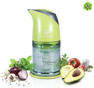 NUTRILOVERS Multizerkleinerer elektrisch – Universal Zerkleinerer für Nüsse uvm. – Küchenmaschine mit 400 Watt, 4-Klingen – grün