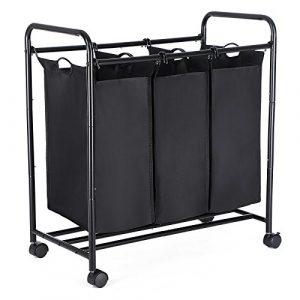 SONGMICS Wäschekorb Wäschesortierer Wäschewagen auf Rollen, Wäschesammler mit 3 Fächern, Metallrahmen, 117 L Kapazität , Schwarz LSF003B