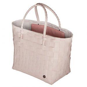 Handed By – Safe Bag – Shopper – Einkaufskorb – Flechtkorb mit Innentasche – rosa 35 x 38 x 24 cm