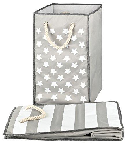 TOPP4u 1x Wäschesammler, Wäschekorb grau, 2 Designs Sterne & Streifen, faltbarer Wäschesack 45 Ltr, 30x30x50 cm, auch Spielzeugsack und Aufbewahrungskorb