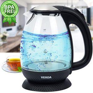 VERDA Wasserkocher 1,7L 2200W Edelstahl LED BELEUCHTUNG Glas SN0617L-6