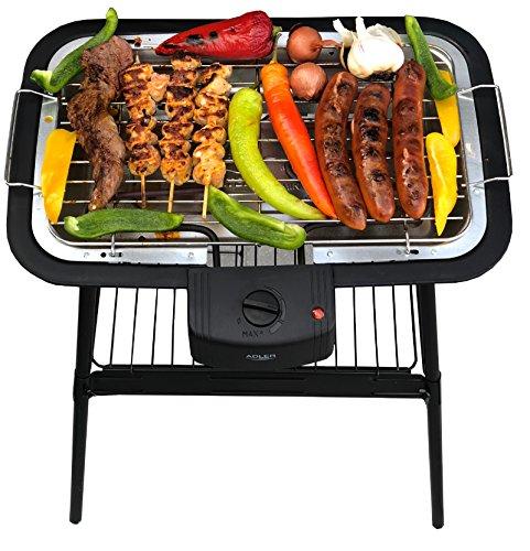 2 in 1 Elektro Grill | Standgrill | Tischgrill | Partygrill | elektrischer BBQ Grill | Cool Touch Griffe | Tisch Grill elektrisch | 2.000 Watt